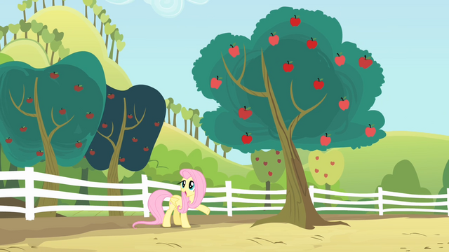File:Fluttershy point towards the tree S4E07.png