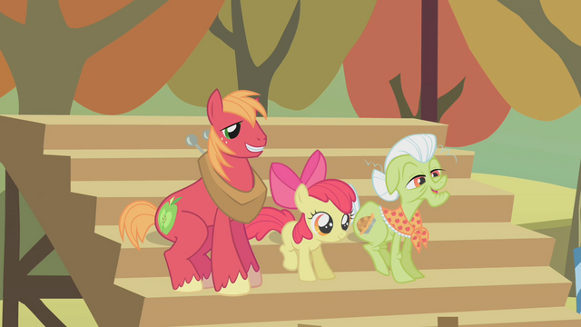 File:Big McIntosh, Apple Bloom, Granny Smith cheering.png