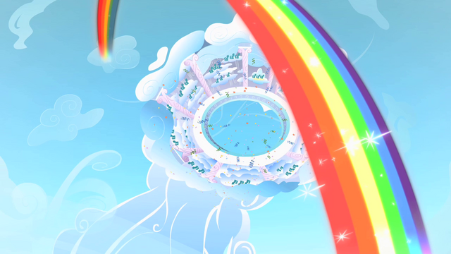 File:Rainbow Dash Cloudsdale rainbow S1E16.png