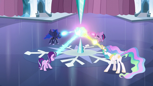 File:Twilight, Celestia, Luna, and Starlight shooting their magic beams at Crystal Heart S6E2.png