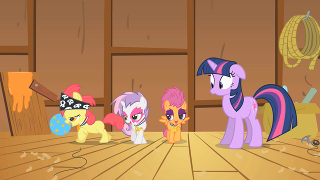 File:CMC happily showing their medals to Twilight S1E18.png