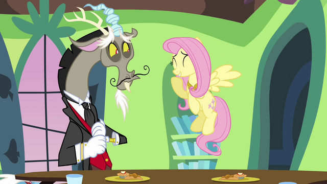 "File:Fluttershy and Discord ""why, of course!"" S03E10.png"