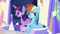 Twilight passes behind Rainbow's throne S5E22