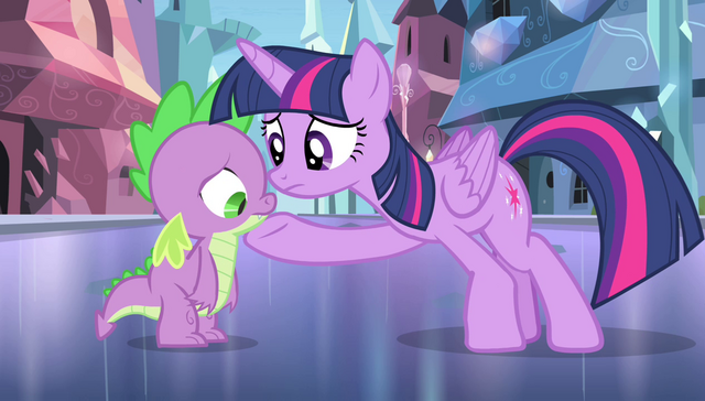 File:Twilight with hoof under Spike's chin S4E24.png