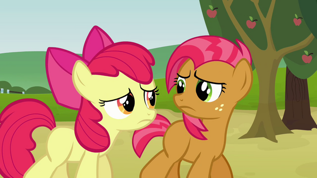 File:Apple Bloom and Babs looking unhappy S3E08.png