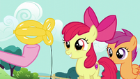 Apple Bloom being presented a balloon goldfish S5E19
