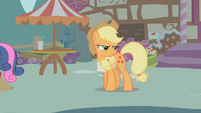 Applejack glaring at Apple Bloom S1E12
