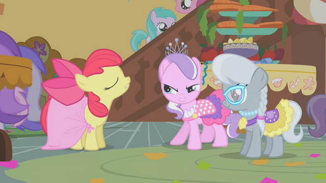 "File:Diamond Tiara and Silver Spoon ""compliment"" Apple Bloom's dress S01E12.png"