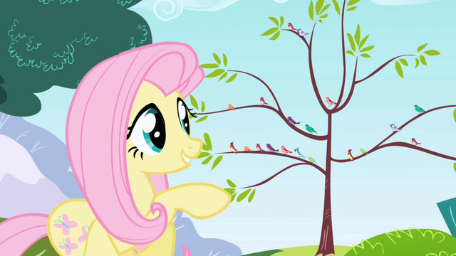 File:Fluttershy smiling at the birds S1E1.png