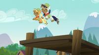 Applejack and Rara jumping into the lake S5E24