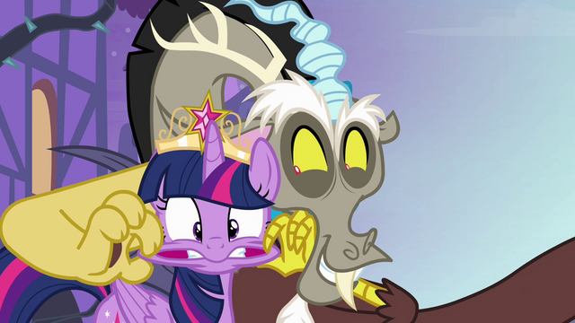 "File:Twilight and Discord ""you totally deserve it"" S4E01.png"