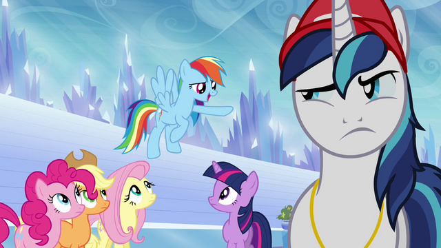 File:Main ponies and Shining Armor in castle stadium S03E12.png