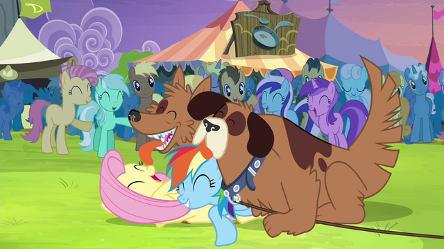 File:Fluttershy and Rainbow Dash getting licked by Orthros S4E22.png