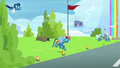 Rainbow Dash flies out onto the field S6E7.png