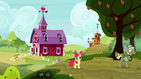 Apple Bloom walking with the pest pony S5E04