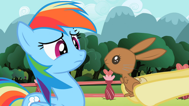 File:Bunny looking at Rainbow Dash S2E07.png