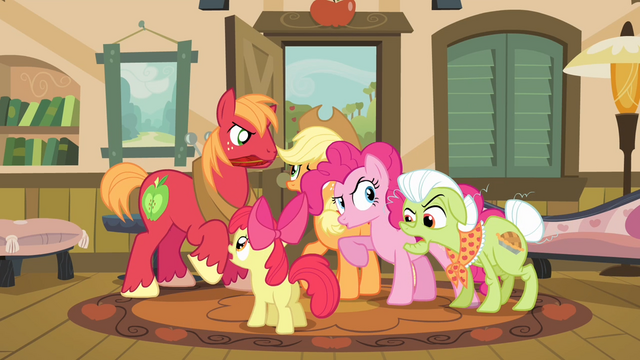 "File:Pinkie Pie ""arguing"" along with the Apples S4E09.png"