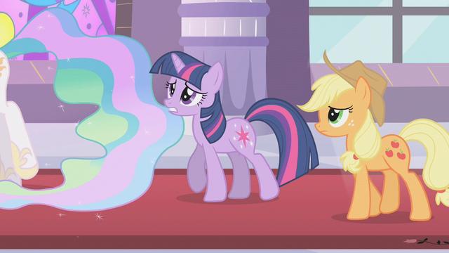 File:Applejack and Twilight following Celestia S2E01.png