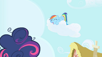 Rainbow Dash laughing cloud above Twilight Sparkle S1E01