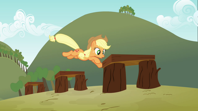 File:Applejack jumping over the hurdles S3E08.png