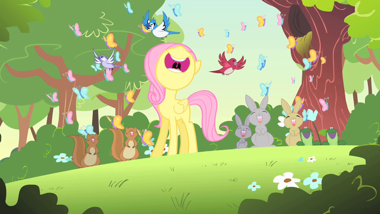 image filly fluttershy singing with woodland creatures