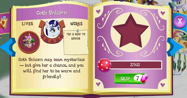 File:Goth Unicorn album page MLP mobile game.jpg