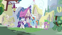 Rarity & Rainbow Dash hearing Spike out S3E11