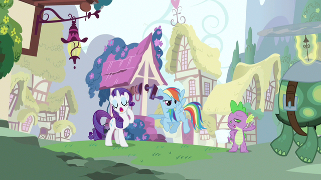 File:Rarity & Rainbow Dash hearing Spike out S3E11.png