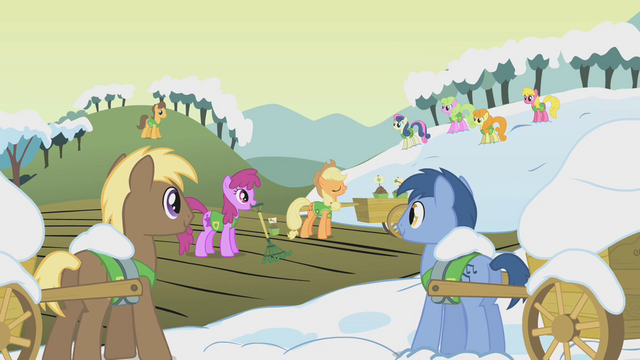File:Ponies listen to Applejack S1E11.png