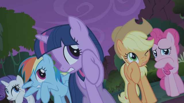 File:Friends cringe when Fluttershy approaches manticore S1E02.png