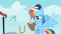 Rainbow Dash writing on clipboard S2E07