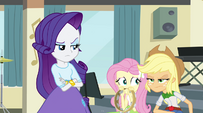Rarity, Fluttershy, and AJ displeased by Rainbow's words EG2