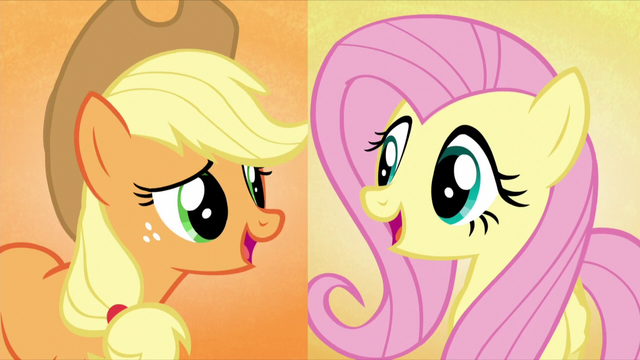 "File:Applejack and Fluttershy sing ""and we'll make"" S5E3.png"