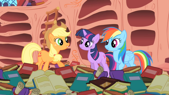 "File:Applejack ""And Rainbow Dash here's the only pony to ever pull it off!"" S1E16.png"