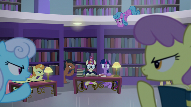 File:Library ponies shushing Twilight and Moon Dancer S5E12.png