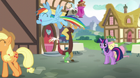 Main ponies laugh as they leave Twilight S5E22