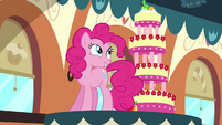 Pinkie Pie on table with MMMM S2E24