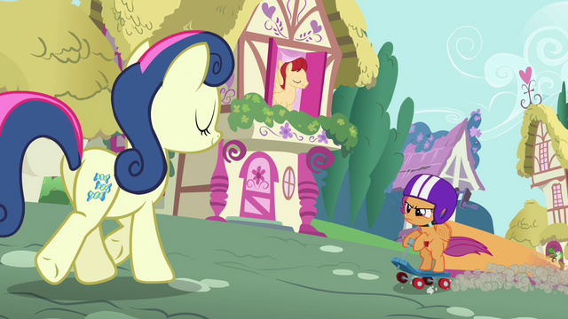 File:Scootaloo getting near Sweetie Drops S3E6.png