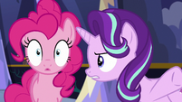 Starlight Glimmer gives orders to Pinkie Pie S6E21