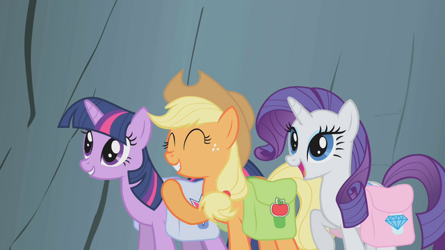 File:Twilight, AJ, and Rarity encourage Fluttershy S1E07.png