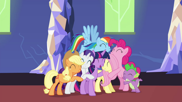 File:Mane 6 and Spike group hug S4E26.png