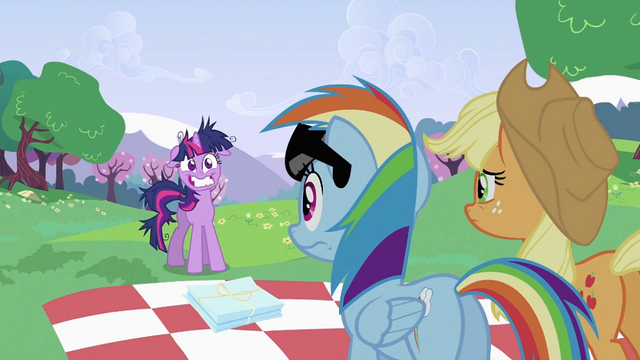 File:Applejack and Rainbow Dash looking at Twilight Sparkle S2E03.png
