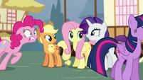 Twilight's friends excited; Pinkie straining S5E19