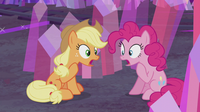"File:Applejack and Pinkie ""so did I!"" S5E20.png"