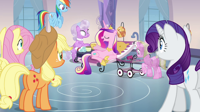 File:Main ponies and sitting Cadance S03E12.png