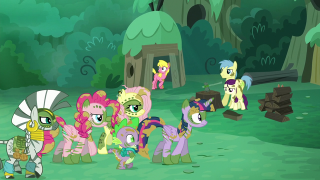 File:Ponies, Zecora, and Spike walking S5E26.png