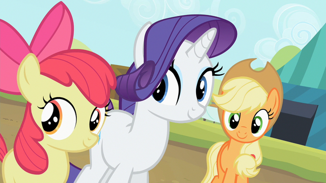 File:Apple Bloom, Rarity and Applejack are smiling S2E05.png