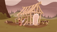 Grub Hooffield kicking Piles' house frame S5E23