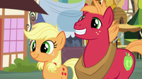 Young Applejack and Big Mac smiling widely S6E23
