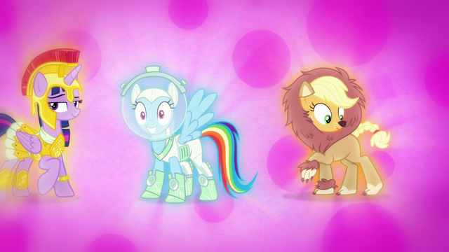 File:Rainbow and Applejack in Nightmare Night costumes S5E21.png